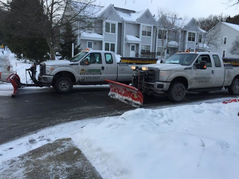 snow plowing 2 trucks