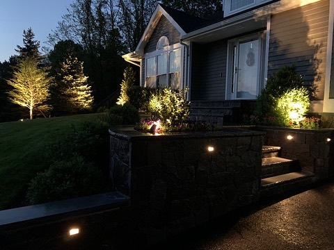 Professional Landscape Lighting in Retaining Wall