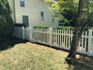 picked white fence install